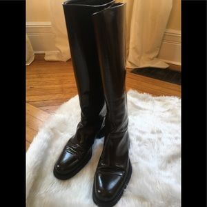 Prada womens dark brown leather boots size 8